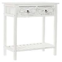 Consola mesa madera paulonia y pino en blanco decapado con 2 cajones cruces 70x39x75h cm