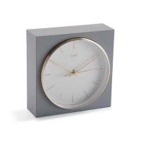 Reloj sobremesa cuadrado gris, aluminio dorado y esfera blanca 17x6x17h cm