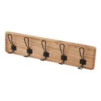 Perchero de pared con 5 colgadores en madera de paulonia y metal 61x8,50x15h cm
