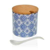 Azucarero redondo porcelana con cuchara estampado azul y blanco Aveiro Ø8x8h cm