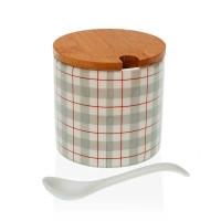 Azucarero redondo cerámica con cuchara estampado rayas topo y rojo Camy Ø8x8h cm