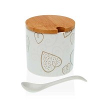 Azucarero redondo cerámica con cuchara estampado corazones color topo Cozy Ø8x8h cm