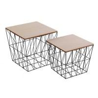 Set 2 mesas auxiliares cuadradas estructura metálica negra y tapa madera 40x39,5h y 34x32,5h cm
