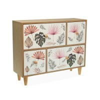 Mueble de sobremesa madera joyero 4 cajones estampado hojas Roxanne 33x11x27h cm
