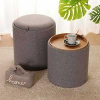 Taburete puff baúl tapizado gris grande 39x39x44h cm