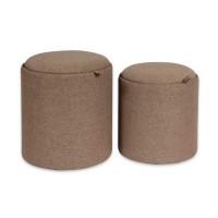 Taburete puff baúl tapizado marrón chocolate grande 39x39x44h cm