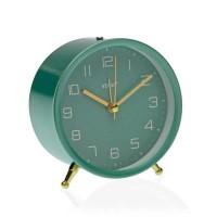 Reloj despertador redondo de sobremesa con pie marco color verde turquesa 9,7x10,3h cm