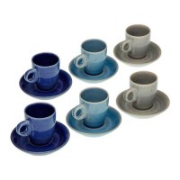 Juego 6 tazas de café con plato rústicos azul y topo