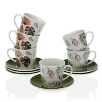 Juego 6 tazas de té con plato porcelana con estampado hojas palmera Roxanne