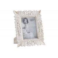 Marco fotos madera mdf tallado blanco roto 15x20cm