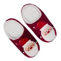 Zapatillas navideñas de color rojo con Papa Noel para talla del 38 al 41