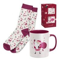 Set regalo calcetines de Navidad y Mug porcelana Papa Noel