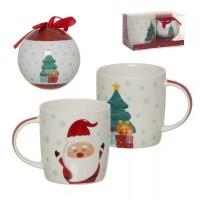 Set regalo con Bola de Navidad y Mug porcelana Papa Noel con árbol de Navidad