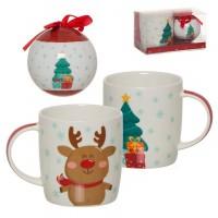 Set regalo con Bola de Navidad y Mug porcelana Reno con árbol de Navidad