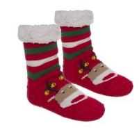 Calcetines andar por casa con borrego rojos estampado reno de Navidad